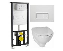 Комплект инсталляция Vitra 742-5800-01 и унитаз Vitra Arkitekt 9005B003-7210 (дюропластовое сиденье, клавиша белая)