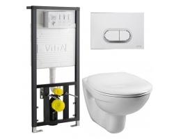 Комплект инсталляция Vitra 742-5800-01 и унитаз Vitra Normus 9773B003-7203 (дюропластовое сиденье, клавиша матовый хром)