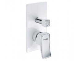 Смеситель для ванной со встроенной системой монтажа Wasser Kraft Aller White 10641 (белый, хром глянец)