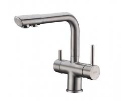 Смеситель для кухни с краном для питьевой воды Wasser Kraft А8027 (матовый хром)
